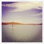 Paddle boarders on the Murchison river, taken from our peddlo...