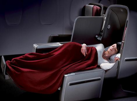 Sleeping beauty . . . Qantas's business class skybed.