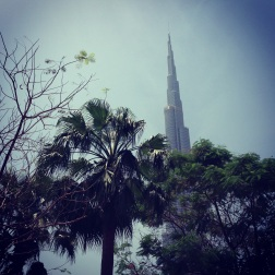 Enjoying the view of the Burj Khalifa from The Address Dowtown.