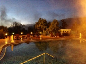 Steam rises off the pool at Holiday Inn Rotorua