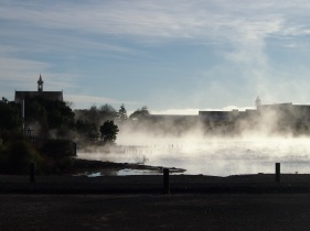 Early morning mist and steam over the lake