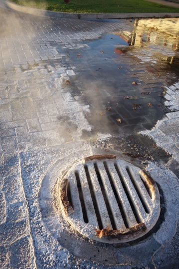 Geothermal steam rises through the manhole covers around the town of Rotorua